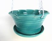 Green Hanging Flower Pot Planter for a container garden, gardener gift, gardening pot or house plant pot 8 Inch by 5 Inch