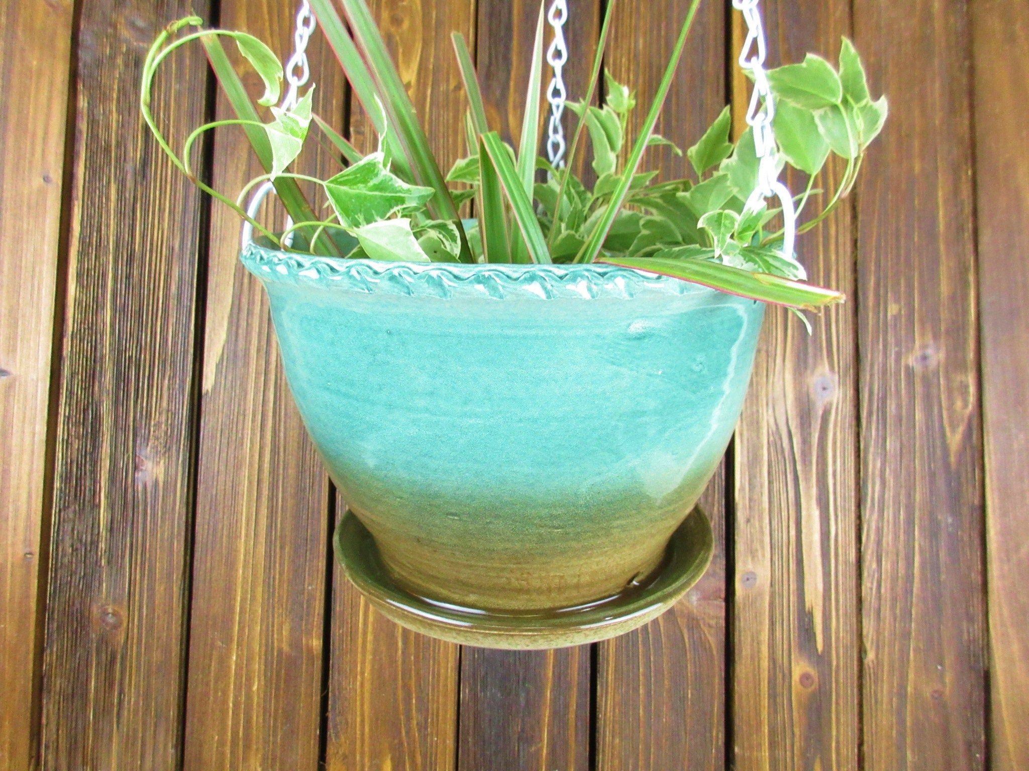 Planter Menthe En Pot hanging pottery planter flower pot for container gardening, gardener gift  outdoor decor art planter ceramic 8 inch diameter, 5 inches tall