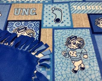UNC Tar Heels/ North Carolina Tar Heels Fleece Blanket-No Sew Fleece Blanket-Large