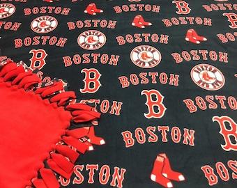 MLB Red Sox Baseball Fleece Blanket-No Sew Fleece Blanket-Large