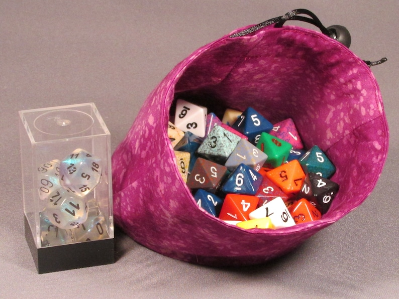 Spotted Dots Purple Small Stand Up Flat Bottom Reversible Dice Bag Pouch RPG Role Playing Game  Geek D/&D