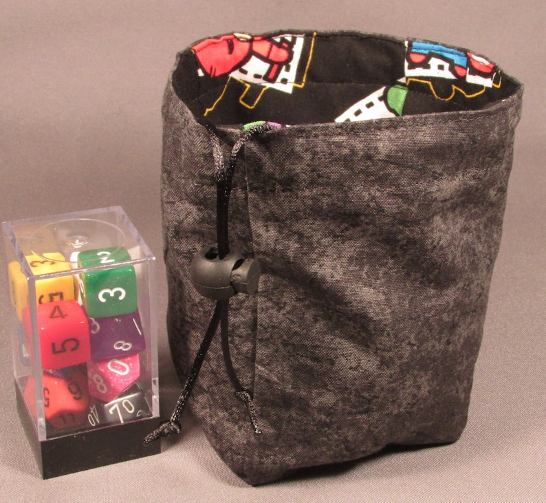Black Kawaii Avengers Small Dice Bag Stand Up Reversible Flat Bottom Pouch RPG Role Playing Game Geek D/&D