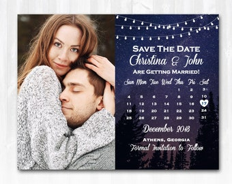 Starry Night Save The Date Magnet or Card DIY or Print Tree Save The Date Country Save The Date Star Save The Date Rustic Save The Date