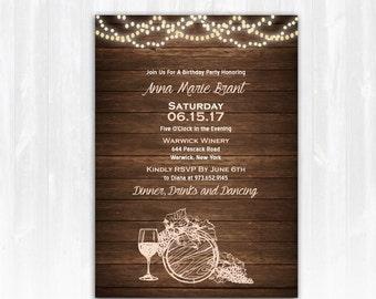 5dafc62c3343 Wine Birthday Invitation DIY PRINTABLE Digital File or Print (extra)  Vineyard Birthday Invitation Winery Birthday Invitation Wine Invite