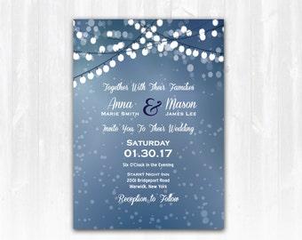 Winter Wedding Invitation DIY Digital File or Print (extra) Christmas Wedding Invitation Winter Wedding Invite Christmas Wedding Invite