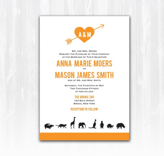 zoo wedding invitation diy printable digital file or print etsy