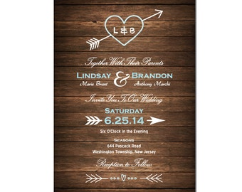 Heart Wedding Invitation DIY PRINTABLE Digital File or Print (extra) Country Wood Wedding Invitation Heart and Arrow Wedding Invitation
