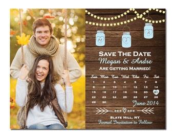 Mason Jar Save The Date Magnet or Card Rustic Save The Date Country Save The Date String Lights DIY PRINTABLE Digital File or Print (+)