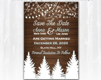 Winter Save The Date Magnet or Card Digital File Winter Wedding Save The Date Rustic Winter Save The Date Pine Tree Save The Date