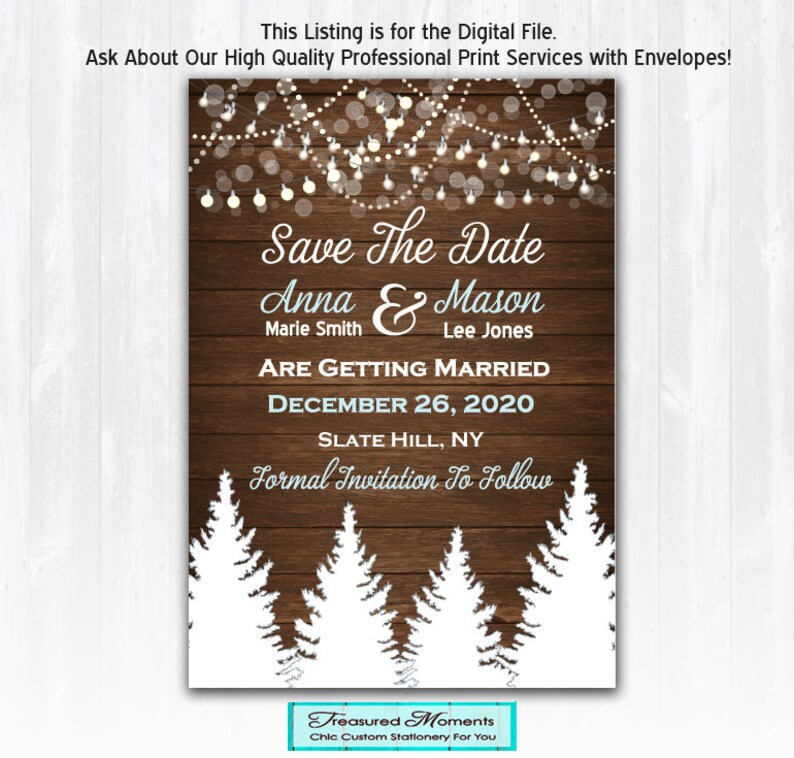 Winter Save The Date Magnet or Card Digital File Winter image 0