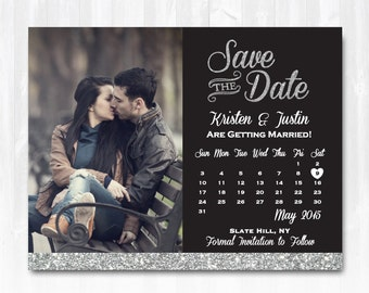 Silver Glitter Save The Date Magnet or Card DIY PRINTABLE Digital File or Print (extra) Glitter Calendar Save The Date Photo Save The Date