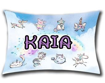 Personalized Unicorn Pillow Custom Unicorn Pillow Custom Unicorn Gift Narwhal Pillow Personalized Gift for Kids Caticorn Pillow Pugicorn