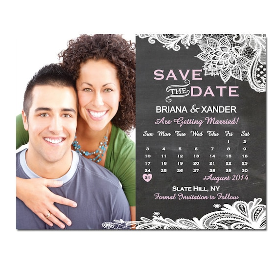 Vintage Lace And Chalkboard Save The Date Magnet Or Card