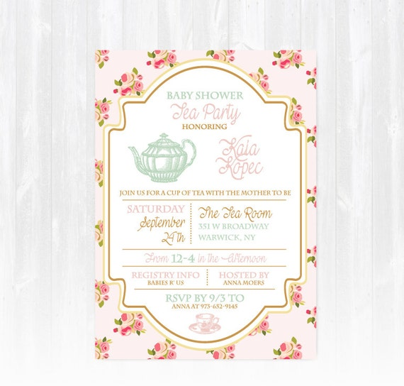 tea baby shower invitation diy printable digital file or print etsy