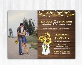 Sunflower Engagement Invitation DIY PRINTABLE Digital File or Print (extra) Photo Engagement Invitation Country Engagement Invitation