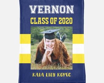 Graduation Blanket Custom Graduate Blanket Graduation Gift Graduation Fleece Throw Personalized Graduation Gift Custom School Blanket