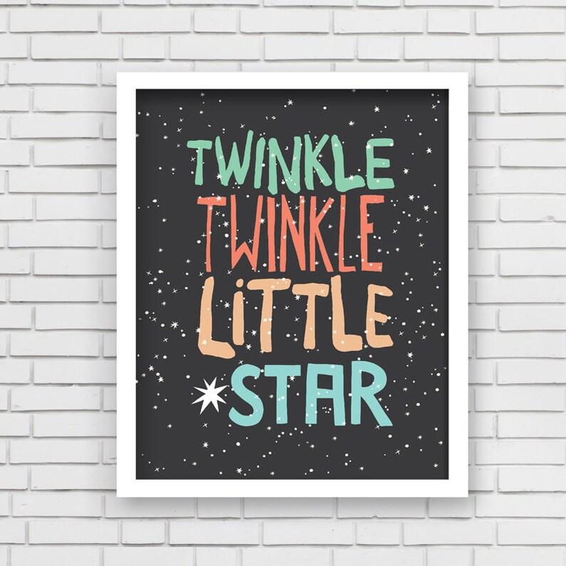 Baby Boy Nusery Decor Art Print Twinkle Star Design  Twinkle image 0