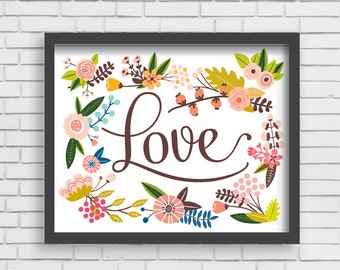 Baby Nusery Decor Art Print Floral Love Design, Nursery Decor Art Print - Multiple Size Options