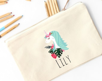 Unicorn Personalized Pencil Pouch // Custom Personalized Kids Sweet Unicorn and Flower Pencil Bag // Pencil Case