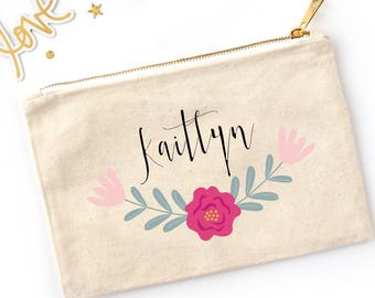 Flower Border Personalized Cosmetic Bag // Custom Makeup Bag //Clutch with Name and Floral Border / Bridesmaid Gift / Bachelorette Gift