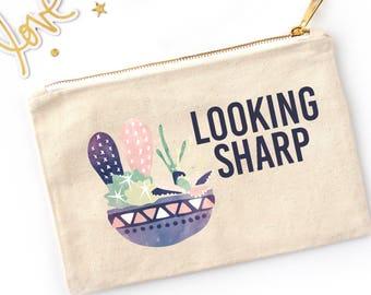 Looking Sharp Cactus Cosmetic Pouch // Custom Makeup Bag / Watercolor Cactus Makeup Bag MB0019