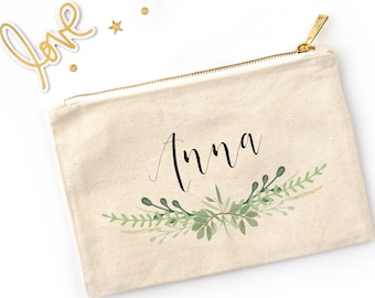 Green Laurel Personalized Cosmetic Bag // Custom Makeup Bag //Clutch with Name and Green Leaves Border / Bridesmaid Gift / Bachelorette Gift