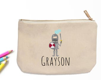 Knight in Shining Armor Personalized Pencil Pouch // Custom Personalized Kids Medieval Knight School Pencil Bag // Pencil Case