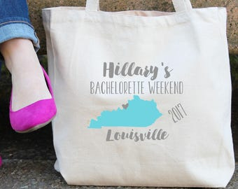 Kentucky Personalized Bachelorette Tote Bag // Louisville // Bachelorette // Personalized Birthday Party/ Bachelorette// Map Tote Bag