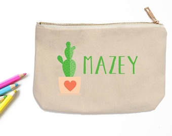 Cactus Personalized Pencil Pouch // Custom Personalized Kids Cactus School Pencil Bag // Pencil Case