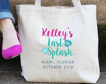 Last Splash Mermaid Seashell Personalized Tote Bag // Los Angeles // Miami / Key West// Beach Nautical Seashell Mermaid Bachelorette Tote Ba
