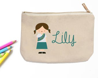 Girl Scout Personalized Pencil Pouch // Custom Personalized Kids Girl Scout School Pencil Bag // Pencil Case