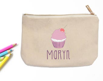 Cupcake Personalized Pencil Pouch // Custom Personalized Kids Dessert Cupcake School Pencil Bag // Pencil Case