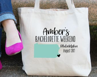 Pennsylvania Personalized Bachelorette Tote Bag // Philadelphia // Pittsburgh // Personalized Birthday Party/ Bachelorette// Map Tote Bag