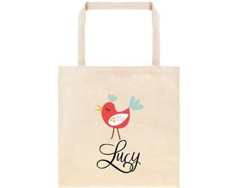 Sweet Christmas Bird Personalized Tote Bag //  Christmas Personalized Gift Tote Bag// Personalized Christmas Gift Bag