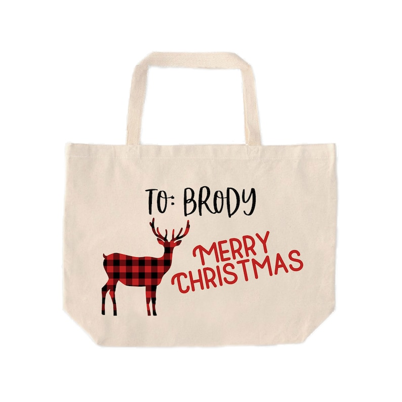 Plaid Elk Personalized Tote Bag  Custom Red and Black Checkered Deer Gift Tote  Reusable Christmas Gift Bag with Name  Canvas Bag