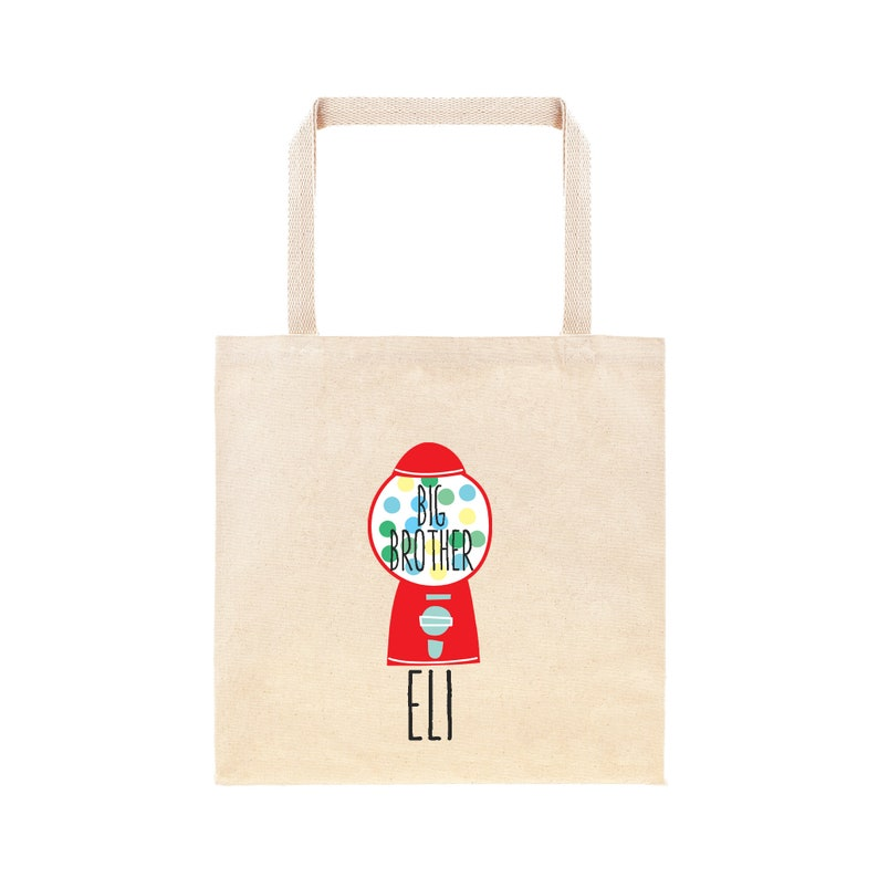 Gumball Machine Big Brother Personalized Tote Bag  Custom Cotton Big Bro Gift Bag  Sweet Candy Theme Baby Shower Sibling Gift