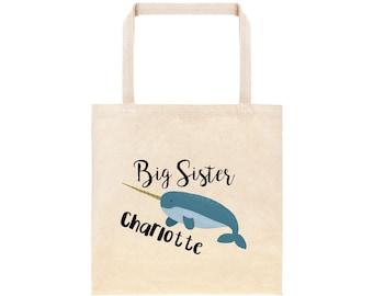 Big Sister Personalized Narwhal Tote Bag // Custom Canvas Big Sister Gift Bag // Ocean Whale Big Sis Tote Bag// New Baby Gift