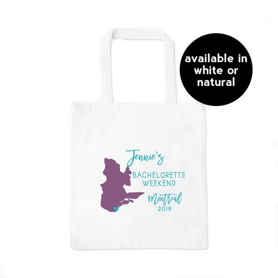Montreal Canada Personalized Bachelorette Party Tote Bag Custom Quebec Province Outline Map Tote Bag Montreal Map Bachelorette Party