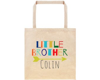 Little Brother Personalized Arrow Tote Bag // Custom Canvas Little Brother Gift Bag // Arrow Lil Bro Tote Bag