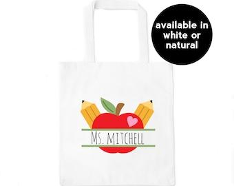 Personalized Teacher Tote Bag Monogram Teacher Appreciation Gift English Teacher Gift Custom Teacher Gifts for Last Day of School