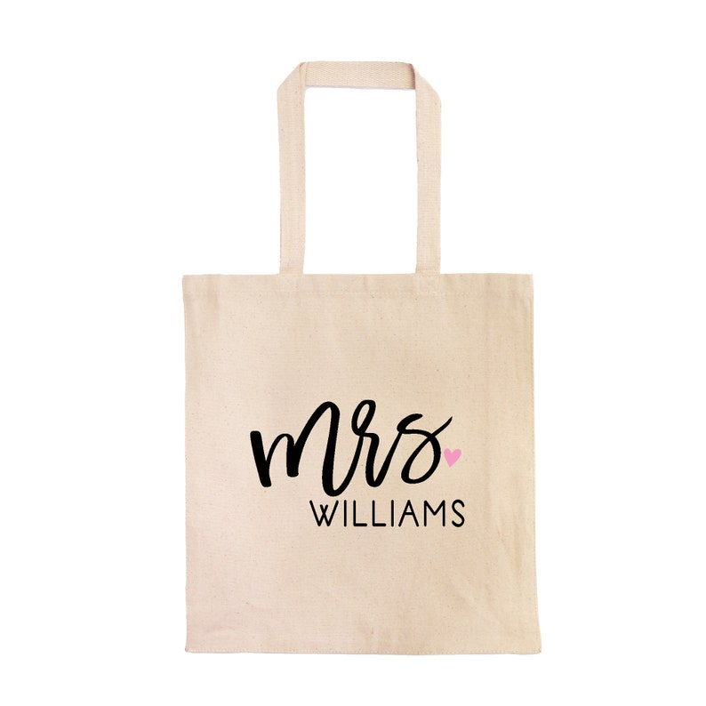 Monogrammed Mrs Bride Tote Bag   Custom Bride Cotton Bag with New Last Name and Heart Bride Bag  Bridal Shower Gift Personalized Mrs