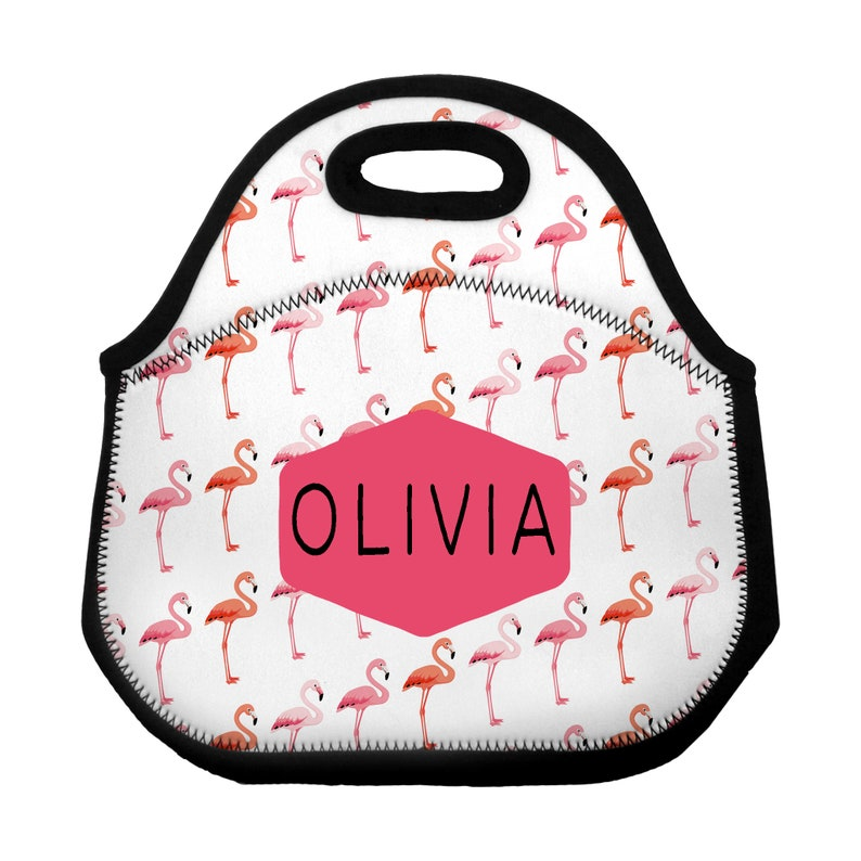 9e695f0b953b Flamingo Personalized Lunch Tote / Custom Flamingo Lunch Bag / Lunch Sack  Personalized Neoprene Zippered Lunch Bag