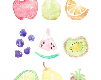 Fruit Smoothie Watercolor PRINT 9x12 inch