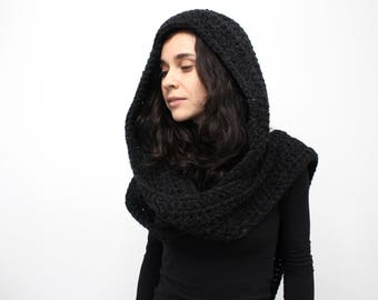 New style Hooded Scarf. Long Scarf. Wool Scarf. Chunky Scarf. Scoodie Scarf. Wool grey Scarf. Charcoal hooded scarf. knit scoodie scarf