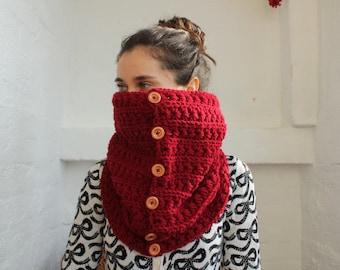 Chunky Scarf, Cowl Scarf Burgundy scarf, chunky scarf, crochet cowl, crochet cowl scarf, Chunky scarf with buttons, crochet cowl with button