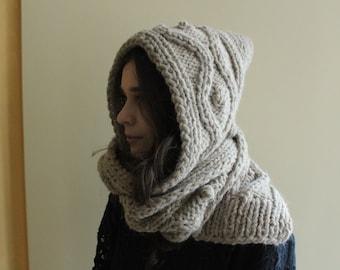 Hooded Scarf. Long Scarf. Wool Scarf. Chunky Scarf. Scoodie Scarf. Wool beige Scarf. beige hooded scarf, beige knit scoodie scarf