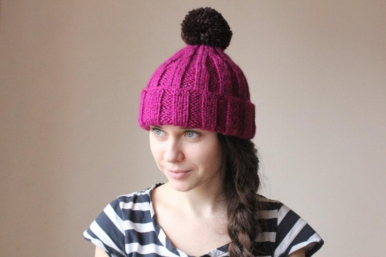 Slouchy Beanie Womens knit winter hats womens winter hat Fuchsia Winter Hat Knitted Beanie Women winter hats Ski beanie Ski hat