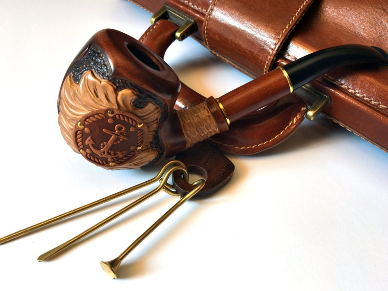 Exclusive anchor smocking pipe with Tamper and Cleaning Tools  wood pipe   smoking bowl  Pipe