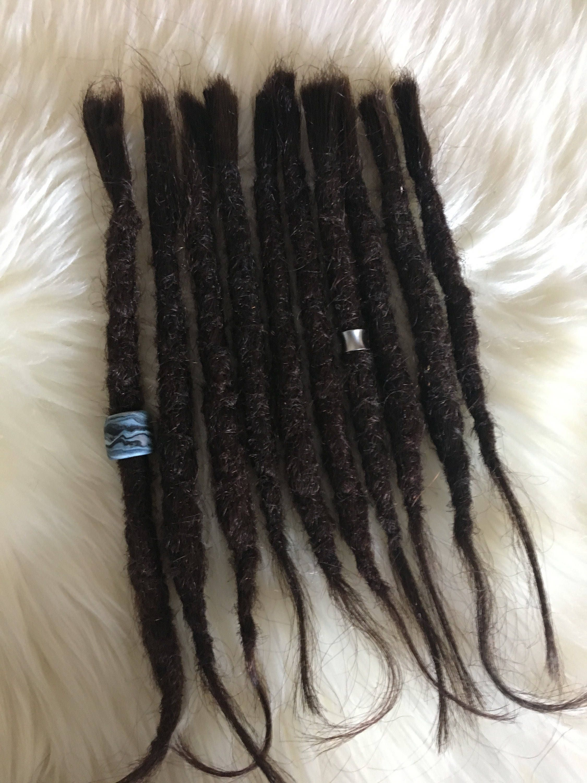 10 Dreadlock Extensions Darkbrown Real Human Hair Strong Etsy