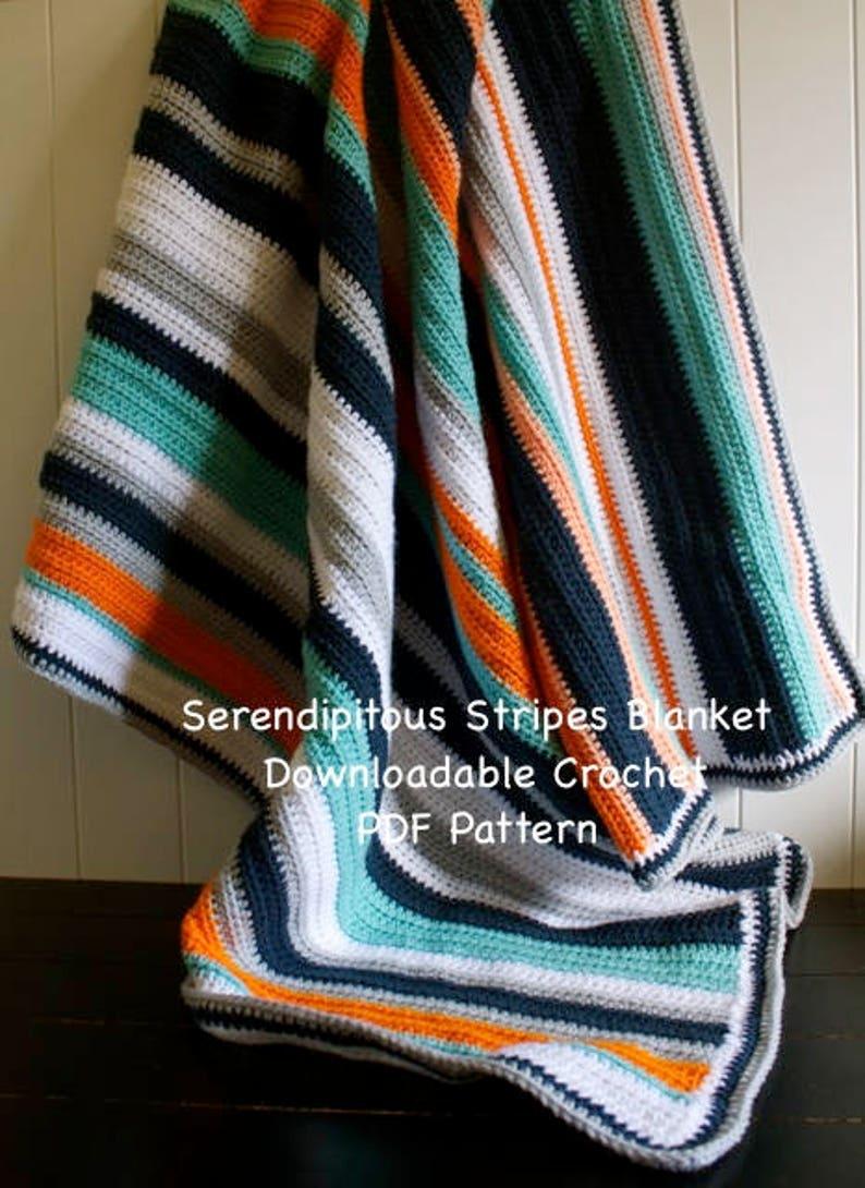 Crochet Pattern  Serendipitous Stripes Blanket  Crochet PDF image 0